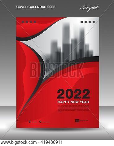 Cover Desk Calendar 2022-red Wave Background-4