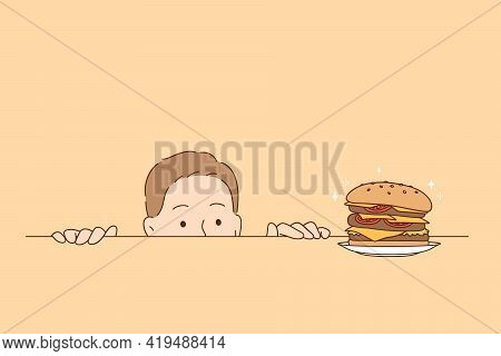 Overeating, Nutrition, Hunger Concept. Funny Hungry Man Cartoon Character Looking At Tasty Burger On