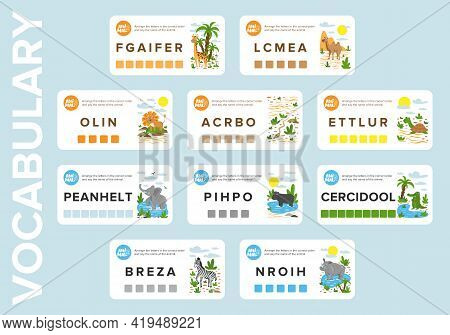 Vocabulary Cards For For Learning English And Animals Of Africa. Educational Game For Kids. Make A P