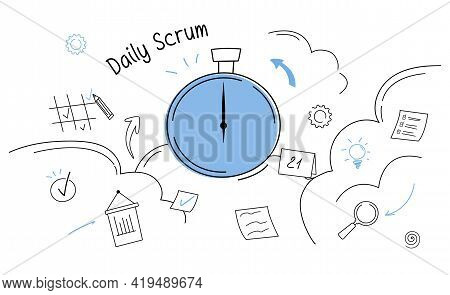 Business Task Board And Daily Scrum Abstract Concept. Outline Doodle Cartoon Vector Illustration.