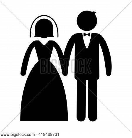 Married Or Wedding Icon. Man In Suit And Woman In Wedding Dress Standing And Holding Hands. Marriage