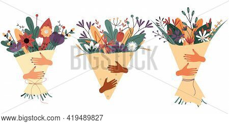 Women\'s hands hold a bouquet of flowers. Spring composition. Greeting card isolated on a white background. A set of gifts in the form of a bouquet of flowers. Colorful vector illustration. EPS 10