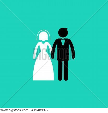 Married Or Wedding Color Icon. Man In Suit And Woman In Wedding Dress Standing And Holding Hands. Ma