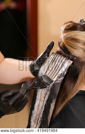 Professional Female Hairdresser Applying Color To Female Customer At Design Hair Salon, Woman Having