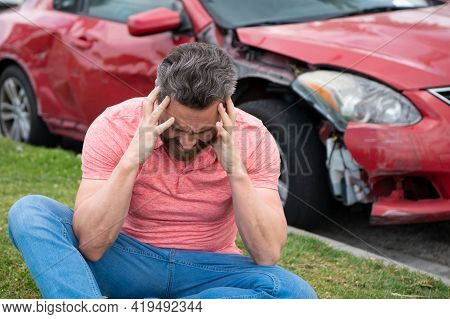 Assistance Driver Shocked. Road Trip Problems And Assistance Concepts.