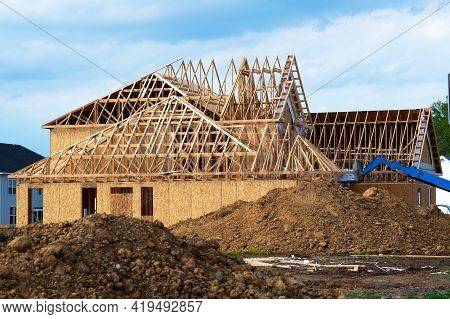 Rafters From The Wall Of The New House