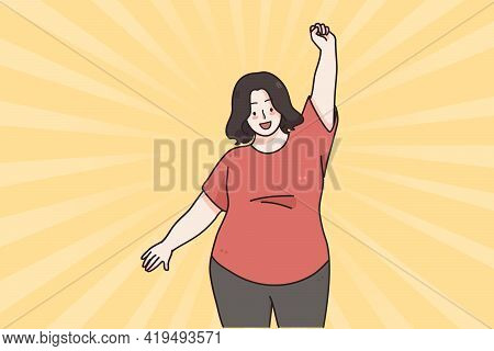 Body Positive And Acceptance Concept. Happy Smiling Oversize Woman Cartoon Character Posing And Danc