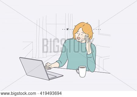 Stress, Burnout, Mental Crisis Concept. Overworked Exhausted Woman Office Worker Sitting At Laptop A