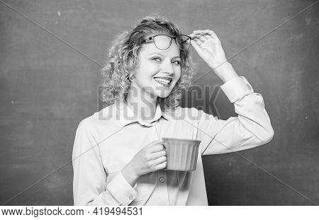 Woman Enjoy Coffee. Energy Charge For Whole Day. Inspiring Drink For School Pedagogue. Coffee Addict