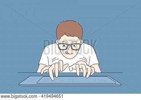 Playing Video Games Concept. Portrait Of Young Student Playing Video Game Crazy Geek In Glasses Typi