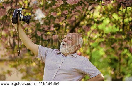 Imitate Fashion Trends. Self Portrait. Memories In Snap. Everyone Photogenic. Senior Man Taking Self