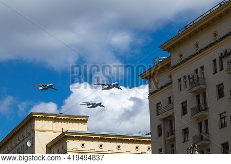 May 5, 2021, Russia, Moscow. Rehearsal Of The Air Force Parade . Military Transport Plane Il-76 Airc