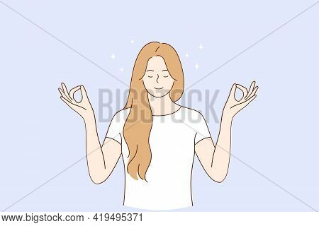 Healthy Lifestyle, Meditation, Yoga Concept. Young Blonde Smiling Woman Keeping Eyes Closed And Medi