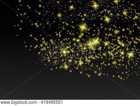Sparkling Magical Dust Particles . The Dust Sparks And Golden Stars Shine With Special Light