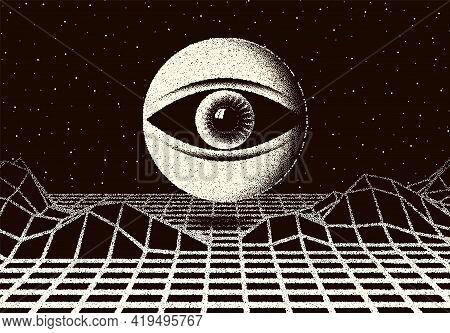 Retro Dotwork Landscape With 60s Or 80s Styled Alien Robotic Space Eye Over The Desert Planet. Backg