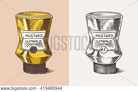 Mustard Packaging. Sauce In A Bottle With A Label. Condiment. Illustration For Vintage Background Or