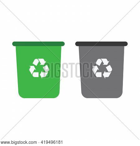 Trash, Basket, Bin, Can, Container, Dustbin, Office Solid Icon Vector. Vector Icon Template Backgrou