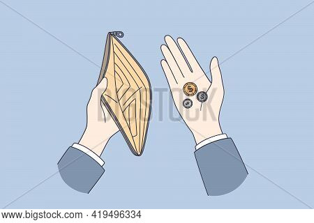 Poverty, Little Budget Concept. Top View Of Human Hands Holding Purse With Few Coins Little Money Sm