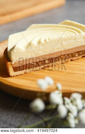 Delicious White Tart. Tasty Dessert - Creamy Tart Made By Pastry Chef. Cutaway Cake With Delicious F