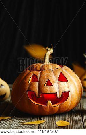 Halloween Design With Pumpkins. Horrible Symbol Of Halloween - Jack-o-lantern. Scary Head Of Pumpkin