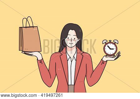 Black Friday, Shopping, Sales Concept. Young Positive Woman Cartoon Character In Red Jacket Standing