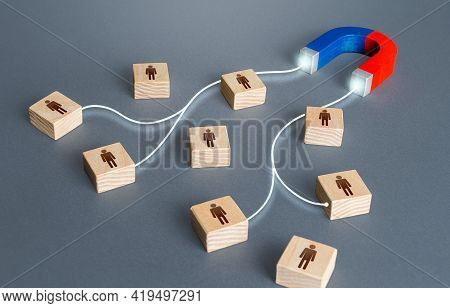 Magnet Attracts Magnetises Certain People Candidates Blocks. Hiring Highly Qualified Professional St