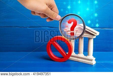 Bank And Red Prohibition Symbol No. Bankrupt Bank Liquidation Procedure. Money Laundering, Sanctions