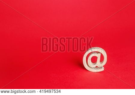 Email Figure At Commercial Symbol. Contacts Communication. Business Representations On Social Media.
