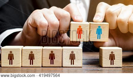 Businessman Chooses A Candidate For The Team. Leadership And Personnel Management. Hiring Qualified
