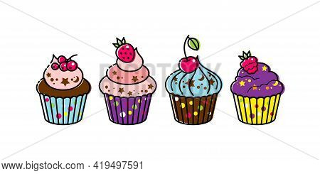 Icon Cupcake With Berries On A White Background. Cupcake In Flat Style. Vector Illustration.