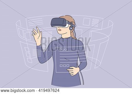 Virtual Reality And High Technologies Concept. Young Woman Wearing 3d Glasses Playing With Virtual R