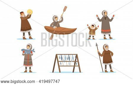Eskimo Characters In Traditional Clothing Playing Tambourine And Fishing Vector Set