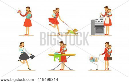 Energetic Female Housewife Holding Baby In Arms Cooking, Ironing And Shopping Vector Set