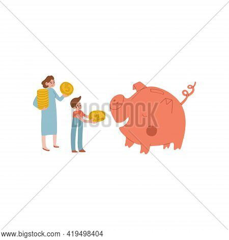 Mom And Son Feed The Piggy Bank With Money. The Woman Gives The Boy Money. Childrens Finance, Kids B