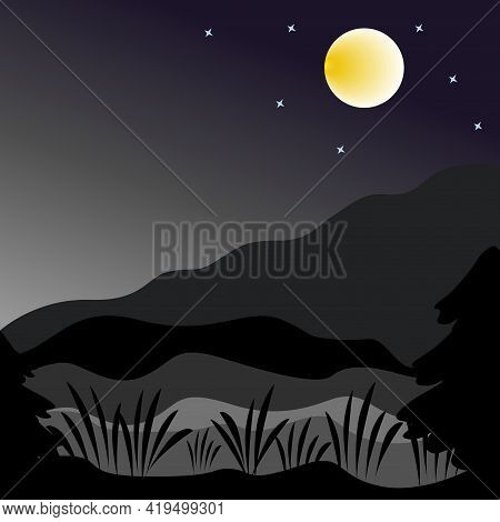 Night Mountain Landscape With Full Moon And Creeping Fog.