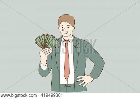 Financial Fraud, Making Money On Deception Concept.smiling Liar Businessman Cartoon Character Standi