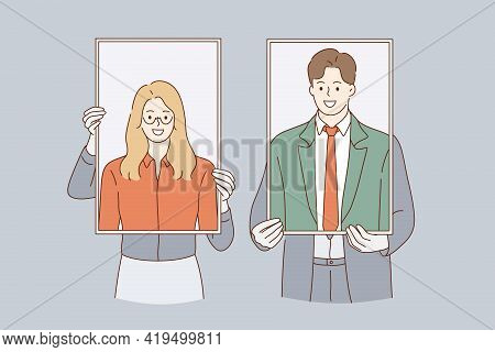 Business Identity, Self Portraits Concept. Woman And Man Business People Cartoon Characters Standing