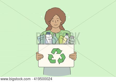 Recycling And Sustainable Lifestyle Concept. Young Smiling Black Woman Cartoon Character Standing Ho