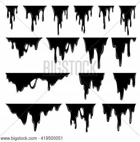 Paint Dripping Liquid. Flowing Oil Stain. Set Of Black Drips. Current Ink Streak, Fluid Smudge. Vect