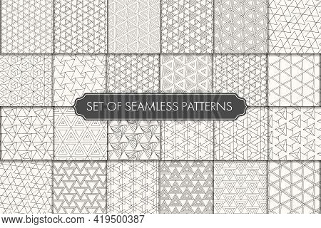 Seamless Line Vector White Decor Pattern. Repeat Ornament Graphic Black Tile Texture. Seamless Moder
