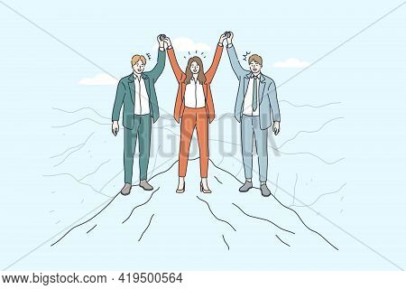 Business Team, Partnership, Success Concept. Group Of Business People Standing On Top Of Mountain Wi