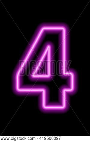 Neon Pink Number 4 On Black Background. Learning Numbers, Serial Number, Price, Place. Vector Illust