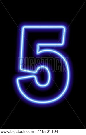 Neon Blue Number 5 On Black Background. Learning Numbers, Serial Number, Price, Place. Vector Illust