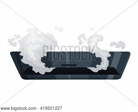 Broken Home Appliances. Damaged Conditioner. Domestic Icon Isolated On White. Burning Electronics. H
