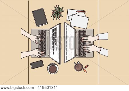 Brainstorming, Technologies, Teamwork Concept. Top View Of Table With Different Electronic Devices A