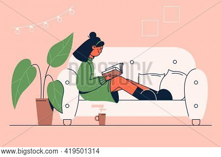 Reading, Literature, Favourite Hobby Concept. Happy Young Girl Cartoon Character Sitting On Sofa Wit