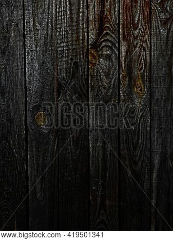 Abstraction Of A Dirty Worn Board With Nails. Wooden Gray Chalkboard Background. Aged, Rustic Materi