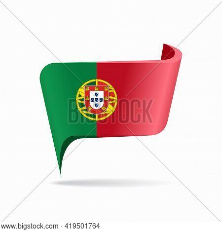 Portuguese Flag Map Pointer Layout. Vector Illustration.