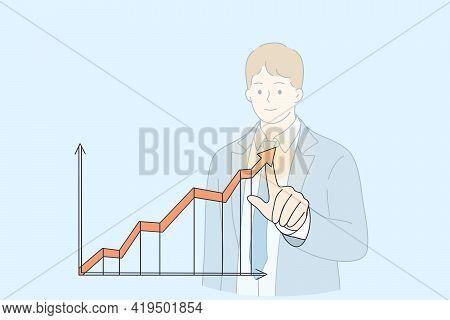 Business Success, Development, Growth Concept. Young Businessman Cartoon Character Pointing Arrow Gr