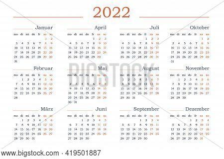2022 Year Calendar In Spanish. Horizontal Vector Editable Template. Simple And Clean Design